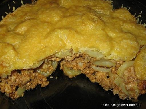 Запеканка с картофелем и фаршем в мультиварке